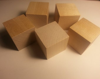 """1.5"""" Wood Cube - Set of 5 - Wooden Square - 1 1/2 inch Wood Cubes - Unfinished - Wood cube - Craft Cubes Wood Parts"""