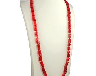 Ladies genuine semi precious sea bamboo red coral stone long fitting necklace jewellery design