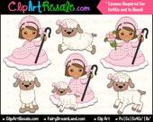 Little Bo Peep Brunette Clip Art - CU, Cu4Cu, Reseller, Digital Clipart, Instant Download - Nursery Rhyme, Storybook, Dress Up, Costume