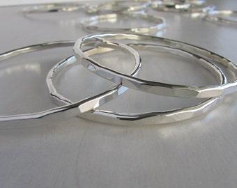 Solid Sterling Silver Bangle - Modern Silver Bangle - Faceted Sterling Bangle - Hammered Sterling Silver Bracelet - Heavy Silver Bangle