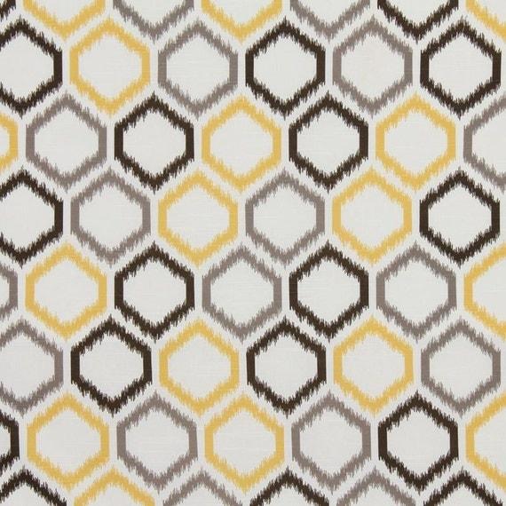 Ikat Home Decor Fabric: Yellow And Gray, Ikat Trellis, Upholstery Fabric, Home