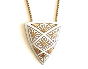Vintage Trifari Geometric Shield Necklace