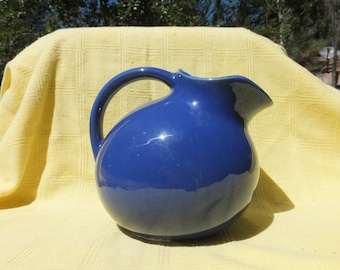 Beautiful Cobalt Blue Porcelain/Ceramic Full Size Roly Poly Style Pitcher