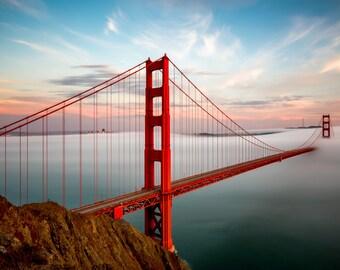 Golden Gate Bridge Print in Beautiful San Francisco Fog - A Warm Bay Area Sunset Photograph - California Home Art - Yellow, Orange and Red