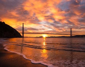 San Francisco Print - Golden Gate Bridge Photo - Beautiful Sunrise Photo - California Art Beach Photograph - Pink, Purple, Red, Yellow