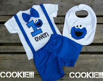 Boys Cookie Monster Birthday Outfit available in Bodysuit and Legwarmers or Shirt and Shorts with Bib