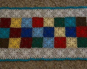 crochet table runner, colorful runner, rectangle table runner, table display, centerpiece