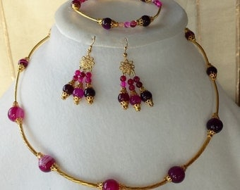 Natural Purple Agate Gold Plated Jewelry Set (Necklace, Earrings and Bracelet)