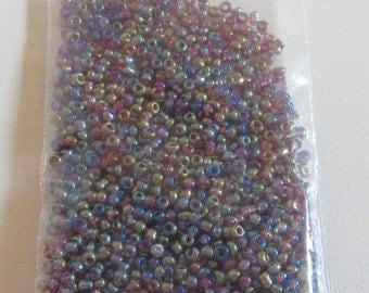 Iridescent Rainbow Plum, glass seed bead mix, 21 gm. destash - shades of purple, blue, metallic