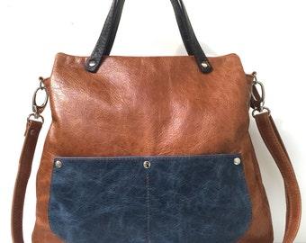 "Shopper in brown leather , "" HAZELNUT "" elegant leather case , brown leather bag , big leather bag"