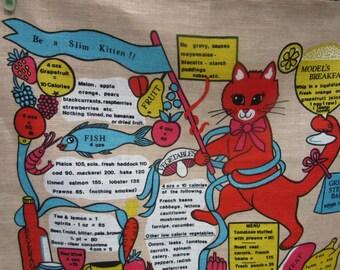 Vintage Lamont tea towel / Calories / Kitten vs Elephant