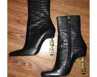 Vintage 90s Charles Jourdan Black Snakeskin and Gold Chain Link Heel Boots Made in France
