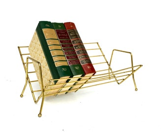 Mid-Century Gold Metal Tabletop Book Stand