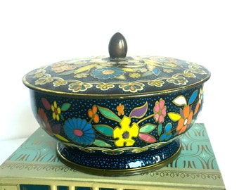Vintage Biscuit Tin, Navy Blue Floral
