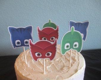 PJ Masks cupcake topper(12)pj masks cake topper,pj masks birthday,pj masks party,pj masks decoration,PJ Masks Theme