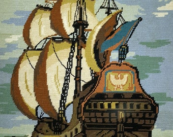 Splendid galleon in full sail - vintage hand stitched needlepoint tapestry ideal for wall/cushion/pillow/bag/stool/chair cover