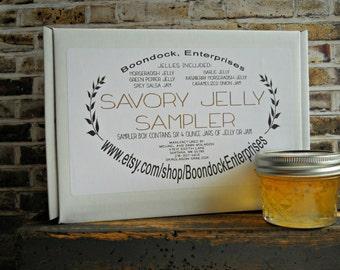 Savory Jelly Sampler Box - Assorted Jam - Assorted Jelly - Jam Gift Basket - Jelly Gift Box - Jelly Sampler Box - six assorted savory flavor