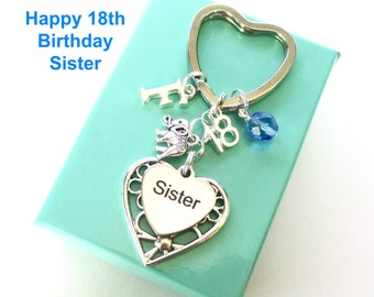 Personalised 18th gift for Sister - 18th birthday sister keyring - Elephant keyring - Sister birthday - 18th keyring - Sister gift - UK