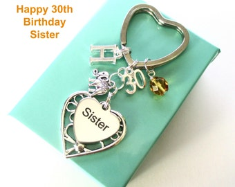 Personalised 30th gift for Sister - 30th birthday sister keyring - Elephant keyring - Sister birthday - 30th keyring - Sister gift - UK