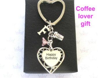 Personalised Happy Birthday keyring - Coffee keyring - Coffee lover gift - Happy Birthday keychain - Birthday gift for Coffee addict - UK