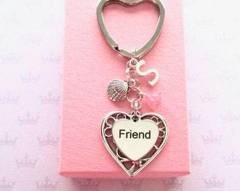 Personalised friend keyring - Friend Birthday - Sea shell keychain - Initial keyring - Gift for friend - Sea shell keyring - Etsy UK
