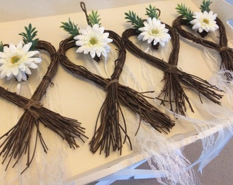 Rustic wedding heart church pew ends x1 With vintage ivory lace,chiffon ribbon, ivory gerbera rose and greenery, venue decor for chairs