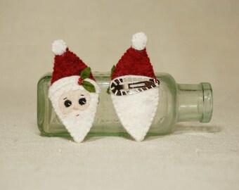 Santa Felt Hair Clip, Christmas Santa Hair Barrett, Wool Felt Christmas Decoration *Ready to ship