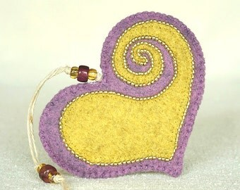 Beaded Lilac & Yellow Felt Heart Ornament #3, Mother's Day Heart, Wedding Favor, Proposal Idea, Anniversary Gift *Ready to ship