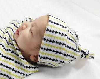 Organic baby hat, baby hospital hat, boho arrow baby hat, baby top knot hat, newborn hospital hat, baby knotty hat, infant hospital hat