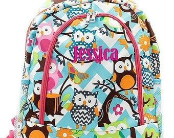 Personalized Owl Backpack Monogrammed Bookbag Chevron Aqua Blue Pink Girls Large Canvas Kids Tote School Bag Embroidered Monogram Name