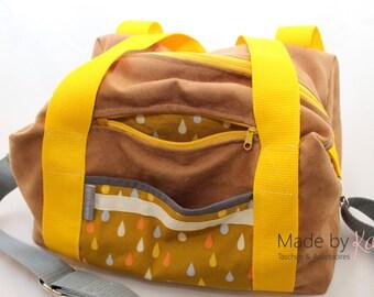 sports bag, yoga bag, weekender, diaper bag, Allrounder, big bag, yellow bag,