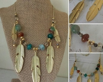 Golden Feather Bib Necklace with Agate and Labradorite Gemstones, Labradorite Jewelry, Feather Statement Necklace