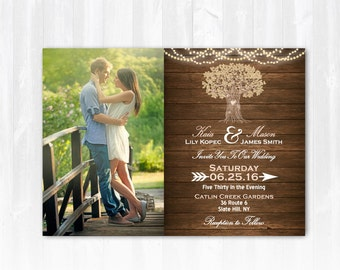 Tree Wedding Invitation DIY PRINTABLE Digital File or Print (extra) Rustic Wedding Invitation with Photo String Lights Wedding Invitation