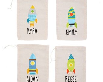 Rocket {set of 10} Personalized Space Rocket Astronaut Birthday Party Custom Favor Bags Blast Off!