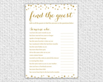 Find the Guest Bridal Shower Game - Instant Download - Bridal Shower Game - Printable Card - Confetti