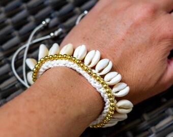 Cowrie Shells and crochet handcrafted cuff - handmade boho bracelet - Gypsy Bracelet
