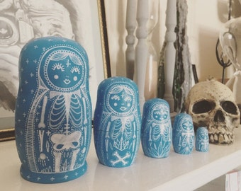 Handmade gothic day of the dead Russian dolls