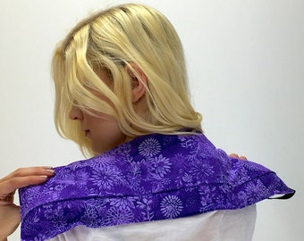 Heat Therapy Rice Bag. 3 Pockets. Rice Heating Pad. Heat Therapy. Neck Heating Pad. Shoulder Heating Pad. Microwave Heat Pack. Purple Flower
