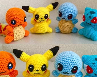 Crochet Pattern set of a Charmander, Pikachu, Squirtle and Bulbasaur amigurumi pattern - kawaii chibi pattern set Instant Download