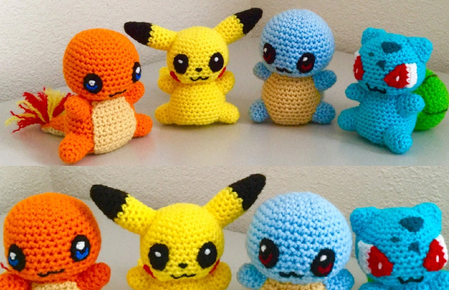 Charmander Crochet Amigurumi : Crochet Pattern set of a Charmander, Pikachu, Squirtle and ...