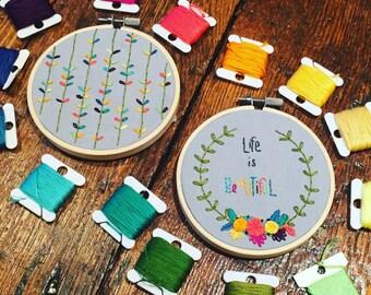 Life is Beautiful Embroidery Hoop Set