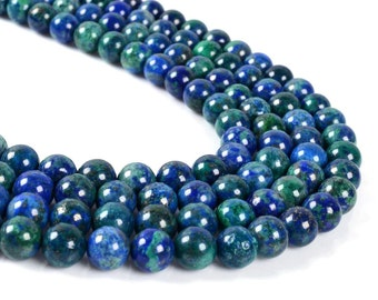 8MM23 8mm Lapis chrysocolla round ball loose gemstone beads 16""