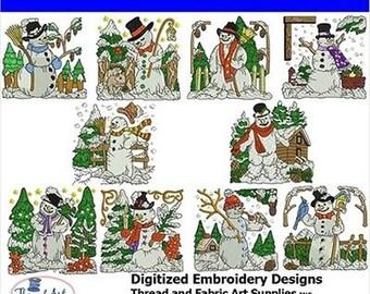 Embroidery Design Cd - Snowman (3) - 10 Designs - 8 Popular Formats - Threadart