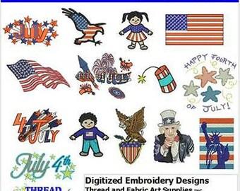 Embroidery Design CD - July 4(1) - 14 Designs - 9 Formats - Threadart