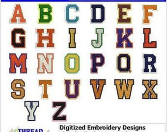 Embroidery Design CD - Collegiate Letters CD - 52 Designs -9 Formats - Threadart