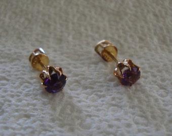 Vintage 10K Gold Monet Amethyst Stud Pierced Earrings