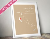 Personalized Bahamas Wedding Gift : Custom Wedding Location Map Print - Wedding Guest Book Poster