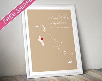 Personalized Bahamas Wedding Gift : Custom Wedding Location Map Print - Wedding Guest Book Poster