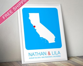 Personalized Wedding Gift : California State Map Print - Wedding Guest Book Poster, Engagement Gift, Custom Map