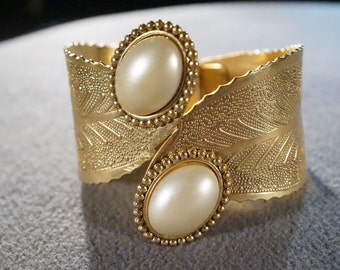 Vintage Yellow Gold Tone 2 Bold Domed Oval Faux Pearl Fancy Etched Bypass Design Hinged Cuff Bangle Bracelet    **RL